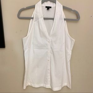 Ann Taylor White Button Up Sleeveless Blouse 4
